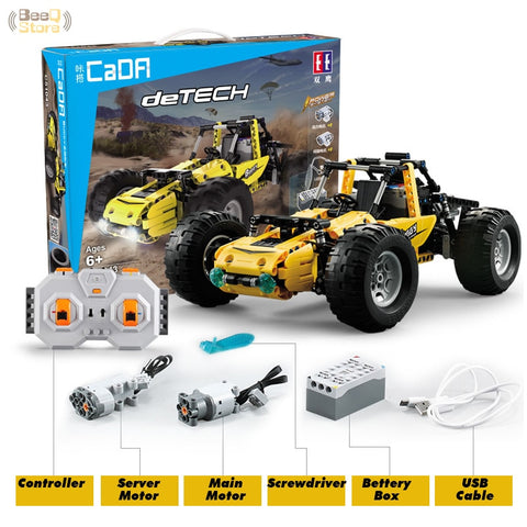 CaDA Building Blocks RC Cars All-Terrain Vehicle High-Simulation Buggy Model 2.4G Wireless Remote Control Block Car Toys