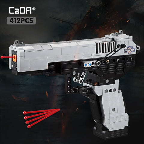 Image of cada Desert Eagle Pistol MK23 Pistol Uzi submachine gun military ww2 Building Blocks legoing Technic city police swat Series Can Fire Bullets toys for kids