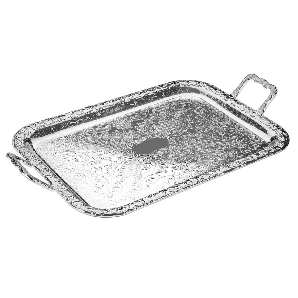 [England Silverware Queen Anne] Medium Oblong Tray with Handles 515mm