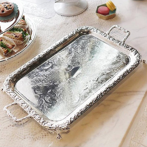 [England Silverware Queen Anne] Oblong Tray with handles and Feets 440mm
