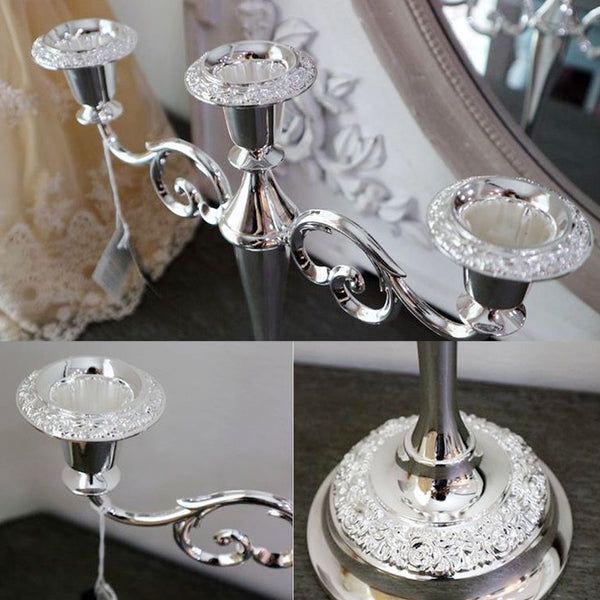 [England Silverware Queen Anne] 3 Arm Rose Candelabra / Luxury Silver Candle Stand