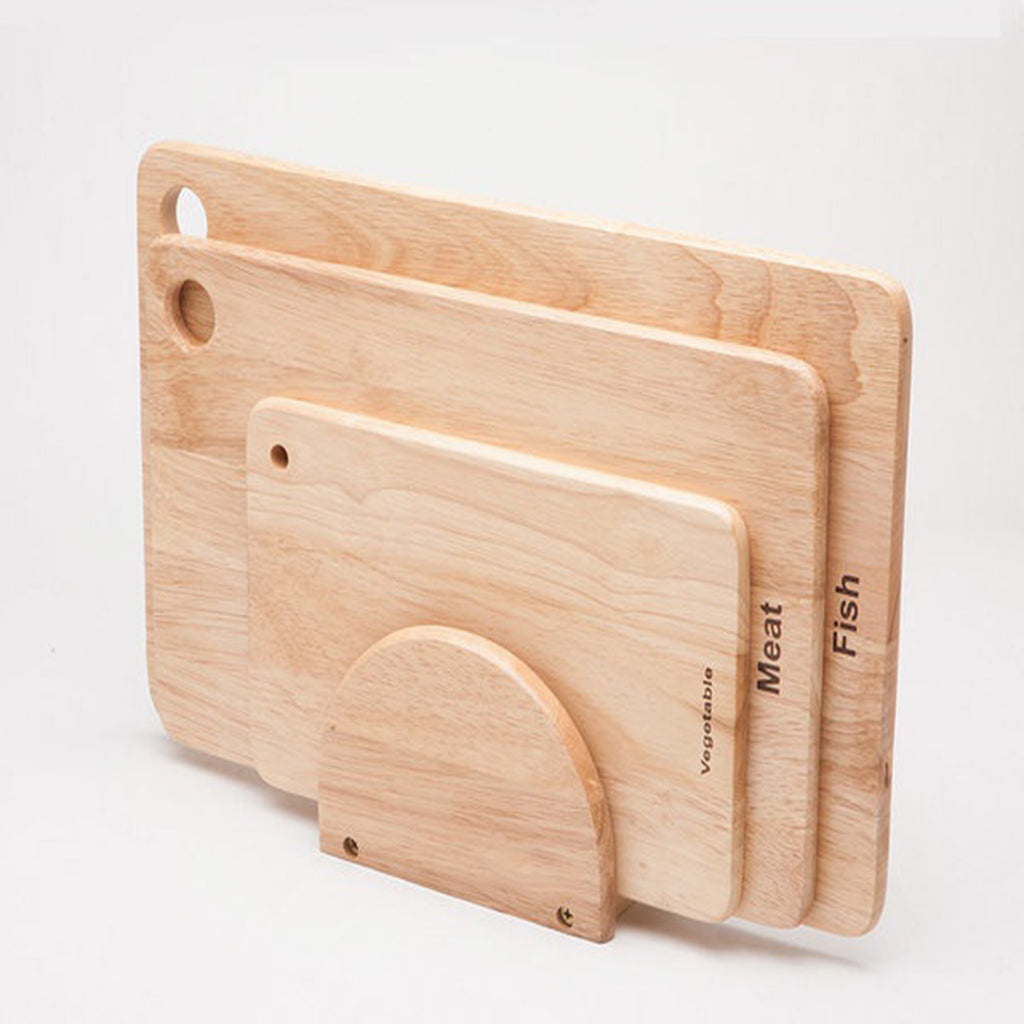 3-Pieces Wooden Cutting Board with Holder