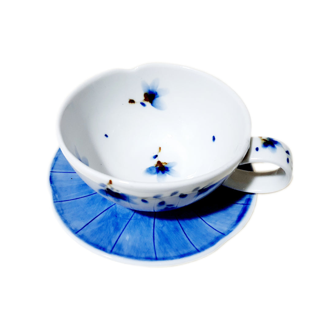 Hand Painted Sky Flower Cappuccino Cup & Saucer Set (Blue)