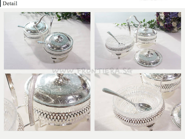 [England Silverware] Queen Anne Double Jam with Lids & 2 Spoons