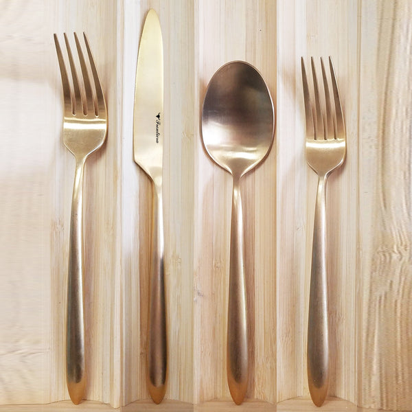 Frontiera Epic Brushed Full Gold 4-Pcs Cutlery Set
