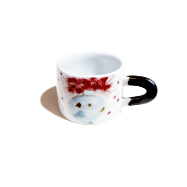 Hand Painted Flower Vase Espresso Cup & Saucer Set