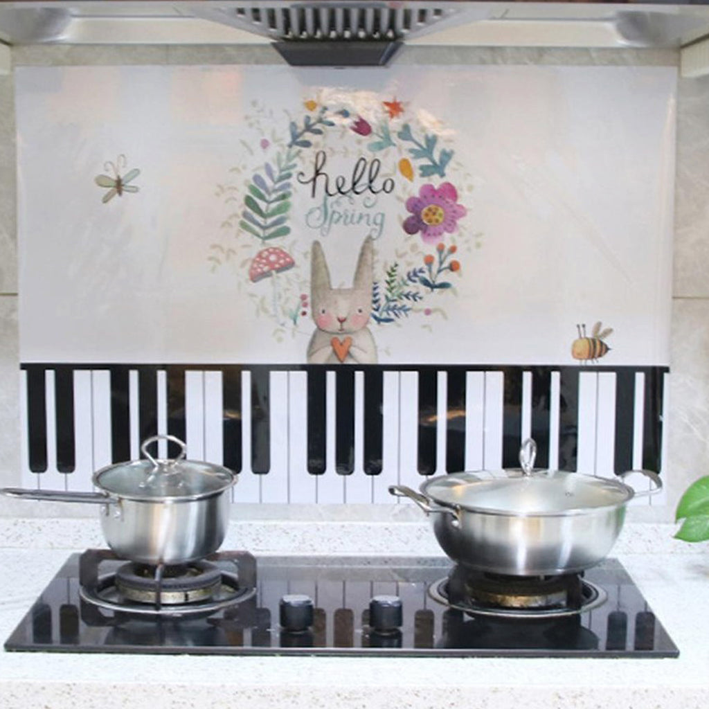 Kitchen Hood Anti Cooking Oil & Temperature Waterproof Sticker (Piano with Rabbit)
