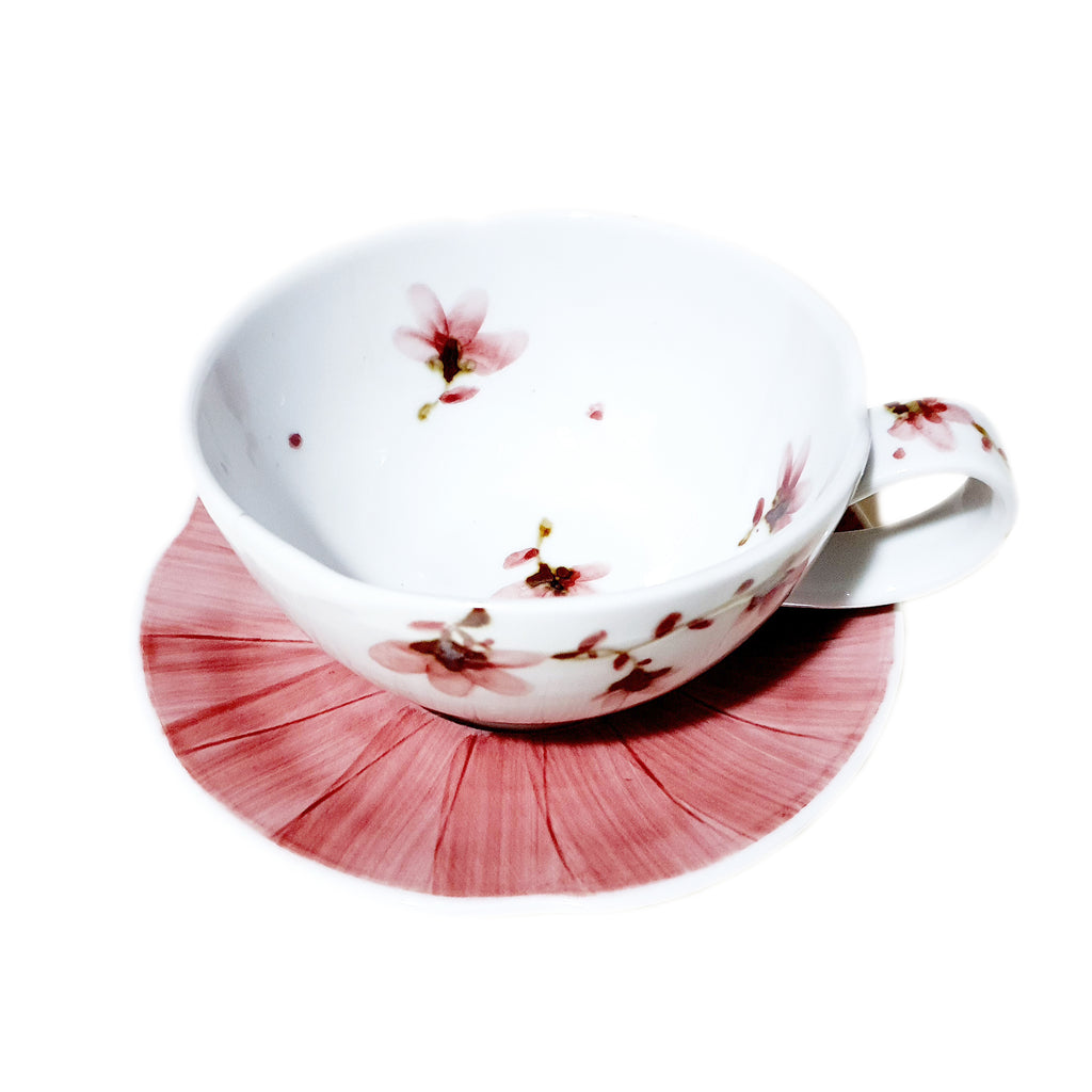 Hand Painted Sky Flower Cappuccino Cup & Saucer Set (Red)