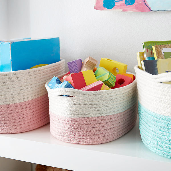 Blush Cotton Rope Storage Basket with Handles (L)