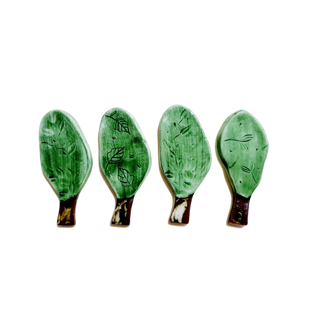 4-Pieces Tree Chopstick Rest (Green)