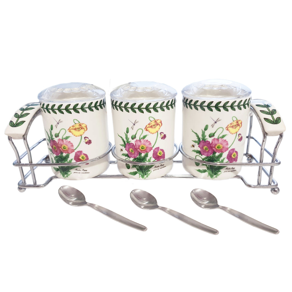 Floral Garden 3-Pieces Spice Jars with spice spoon and rack Set (7P)