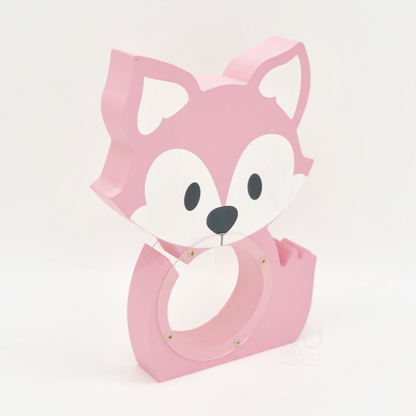 Pink fox wooden coin bank