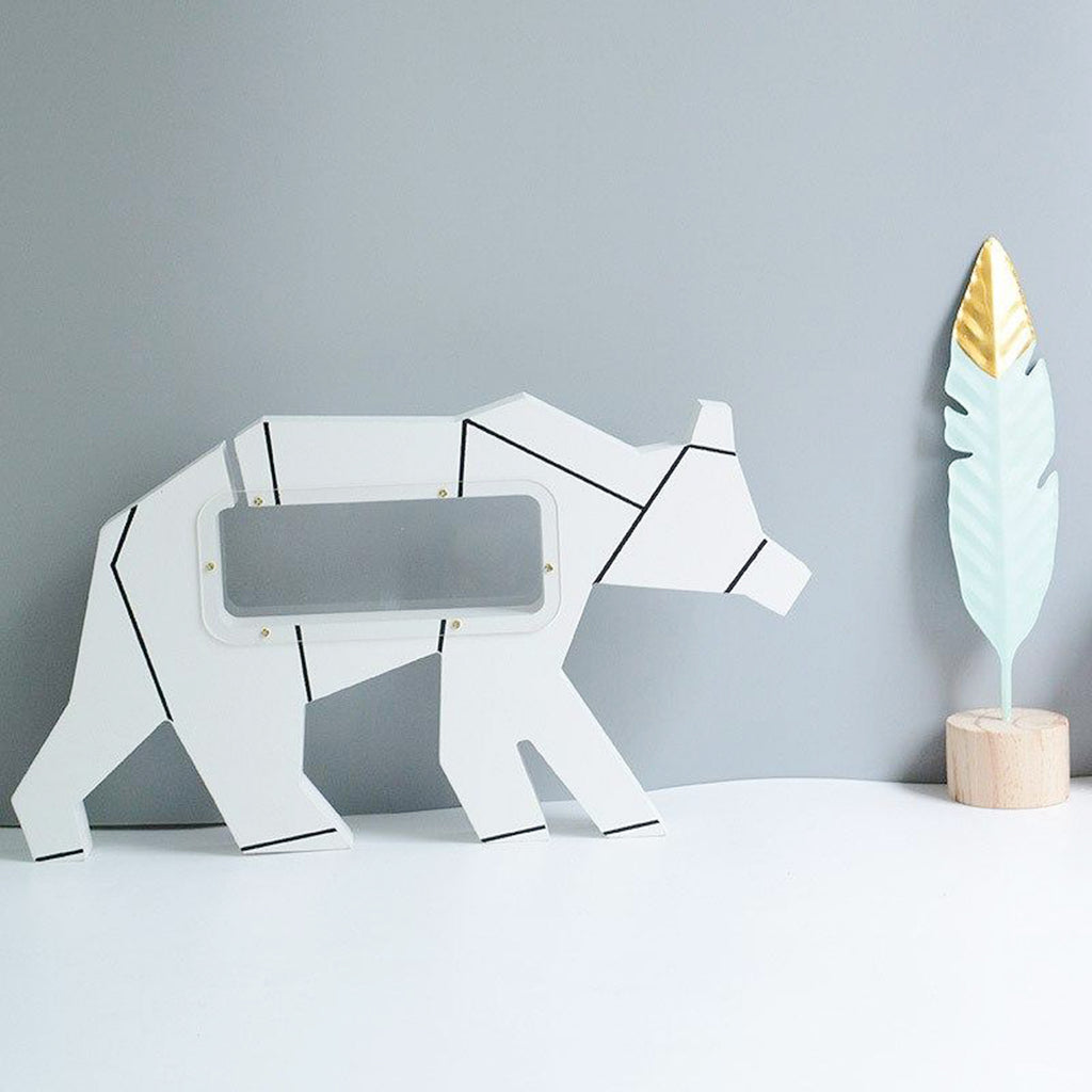 White Bear Wooden coin bank