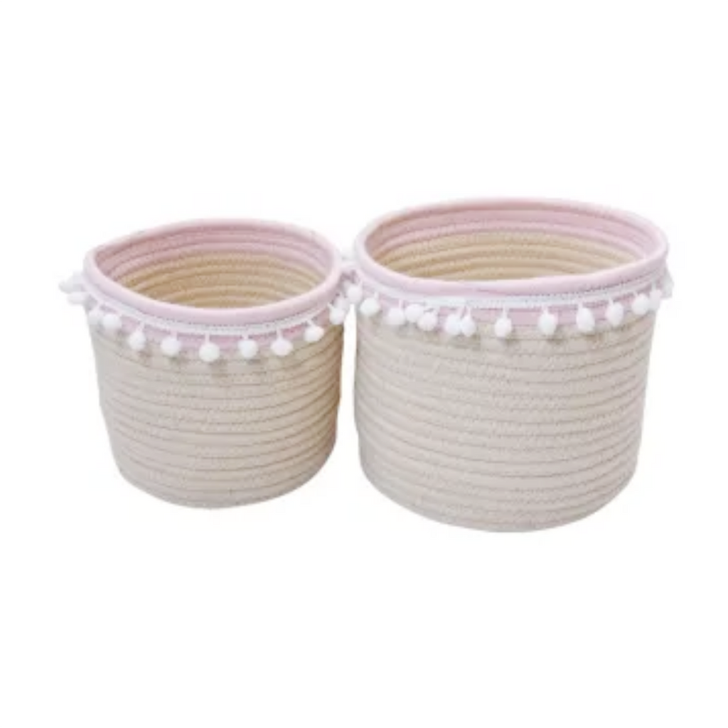 Blush Cotton Rope Storage Basket Round (S / M)