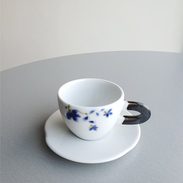 Frontiera Hand painted Sky Flower Espresso Cup & Saucer Set