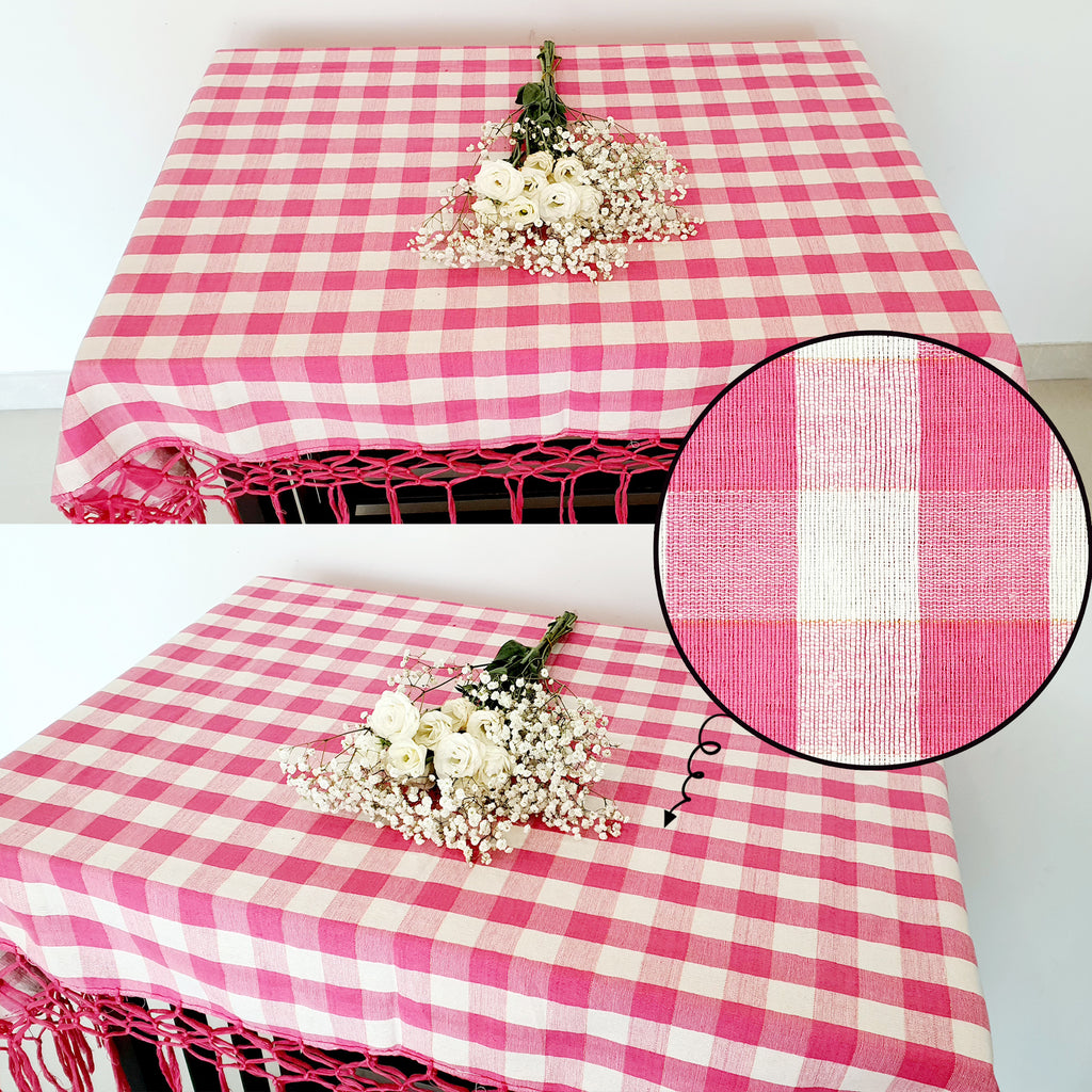 Linen Pink Checkered Tassel Tablecloth (150cm x 150cm)