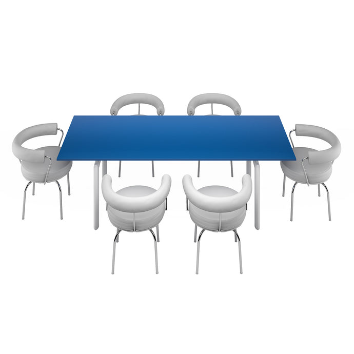 LC09 Table Blue + 6 LC7 Armchair