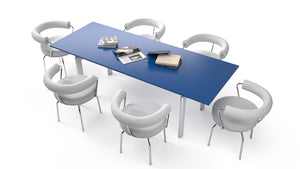 LC09 Table Blue + 6 LC7 Armchair 1