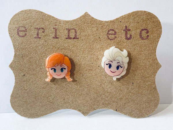 Handmade Plastic Earrings - Elsa & Anna