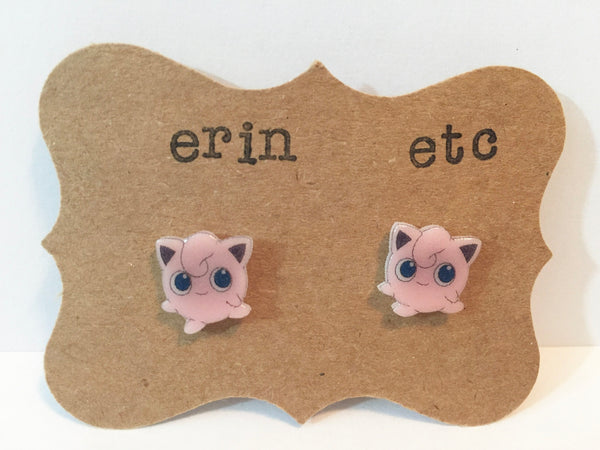 Handmade Plastic Earrings - Pokémon - Jigglypuff
