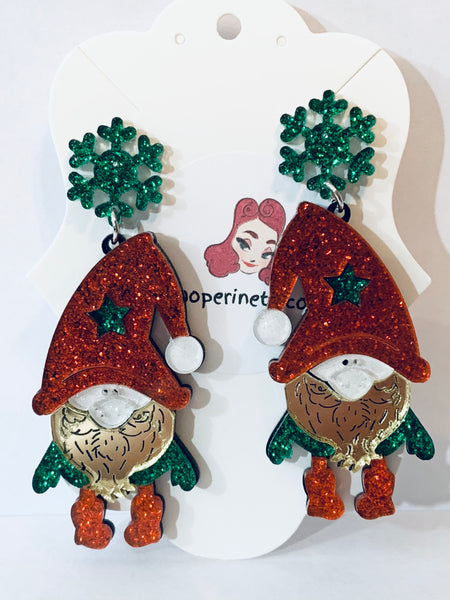 Acrylic Christmas Earrings - Holiday Gnomes