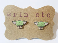 Handmade Plastic Earrings - Valentines Baby Yoda