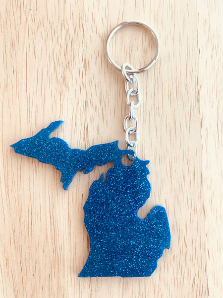 Handmade Resin Keychain - State of Michigan