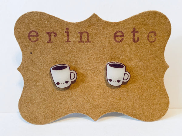Handmade Plastic Earrings - Black Coffee