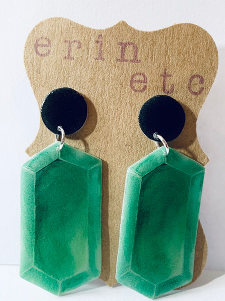 Handmade Plastic Earrings - Retro Emerald Rupee Dangles
