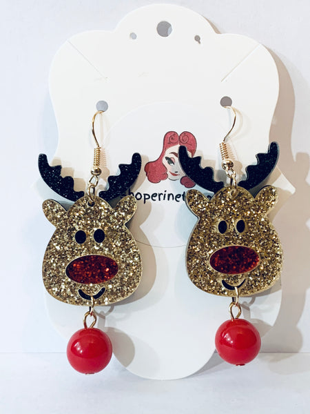 Acrylic Christmas Earrings - Glittery Rudolph