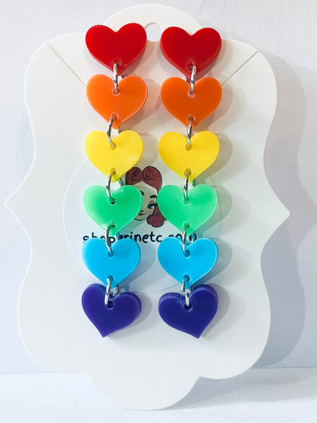 Acrylic Earrings - Rainbow Hearts