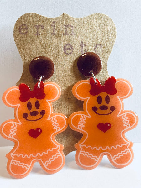 Handmade Dangle Earrings - Gingerbread Minnie