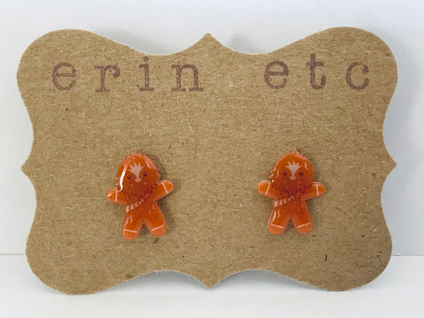 Handmade Plastic Earrings - Gingerbread Chewbacca