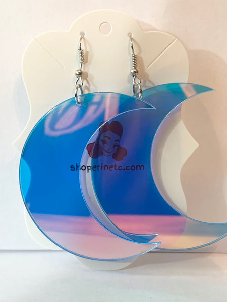 Acrylic Earrings - Holographic Moon