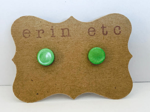 Handmade Resin Earrings - Green Shimmer Studs