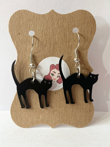 Acrylic Earrings - Black Cats