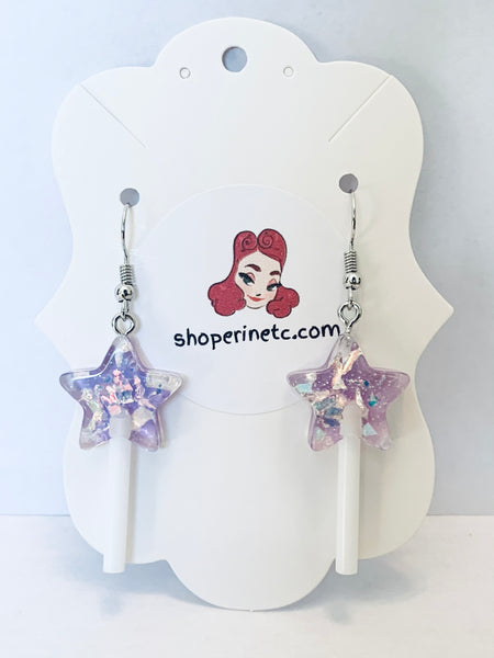 Acrylic Earrings - Mini Star Suckers
