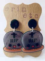 Handmade Dangle Earrings - Tombstone