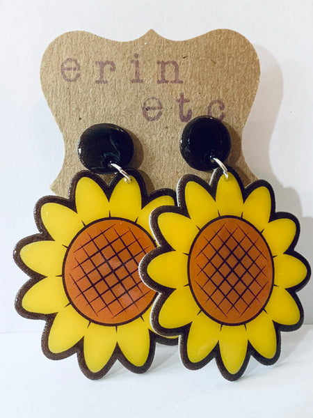 Handmade Dangle Earrings - Sunflowers