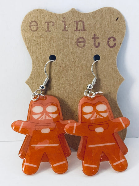 Handmade Plastic Dangle Earrings - Gingerbread Darth Vader