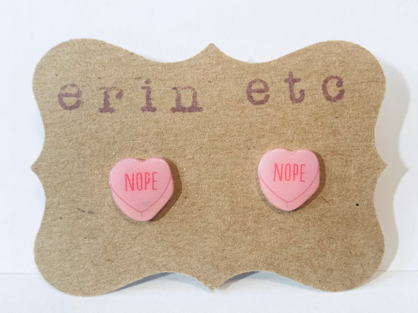 Handmade Plastic Earrings - Candy Hearts - Nope