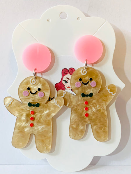 Acrylic Earrings - Gingerbread Men