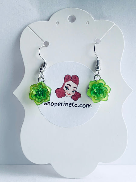 Handmade Resin Earrings - Translucent Green Succulent Dangles