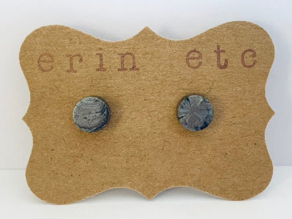 Handmade Resin Earrings - Gunmetal Grey Marbled Shimmer Studs