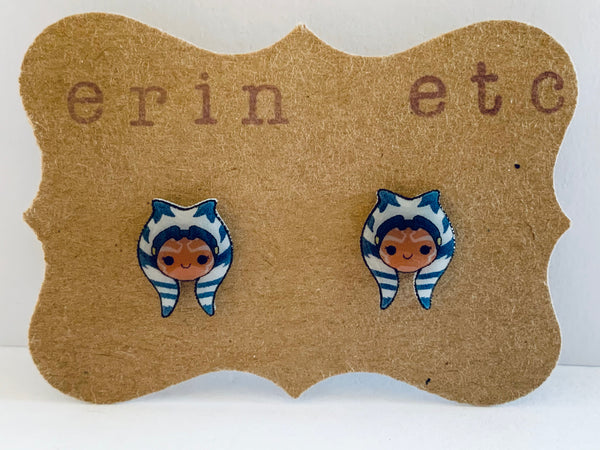 Handmade Plastic Earrings - Ahsoka Tano