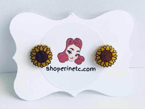 Handmade Resin Earrings - Sunflower Studs