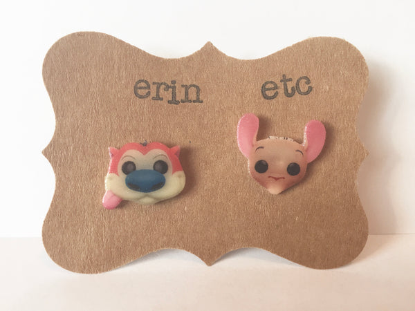 Handmade Plastic Earrings - Ren & Stimpy