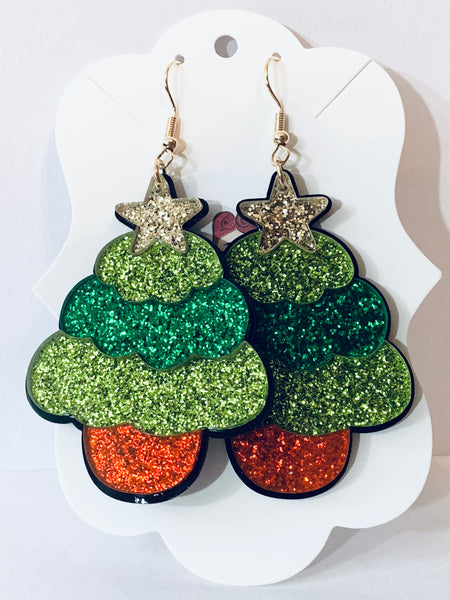 Acrylic Christmas Earrings - Glittery Christmas Trees