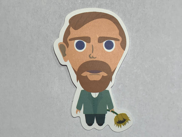 Van Gogh chibi with sunflower sticker