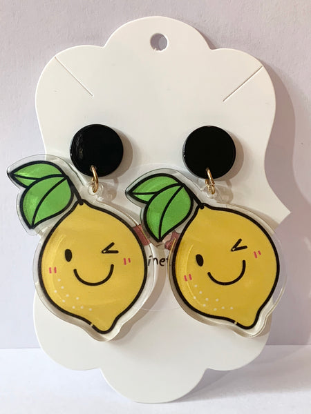 Acrylic Earrings - Cartoon Lemons